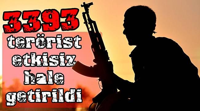 3393 terörist etkisiz hale getirildi