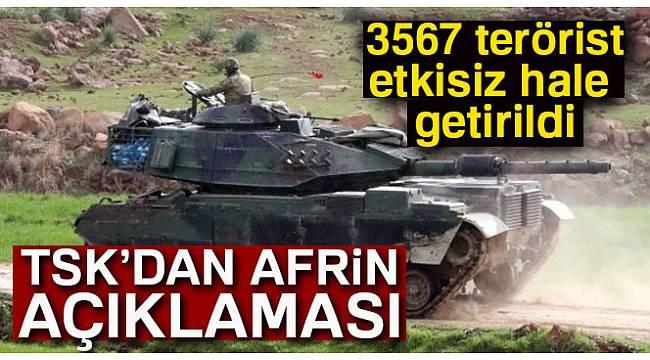 TSK: 'Etkisiz hale getirilen terörist sayısı 3567 oldu'