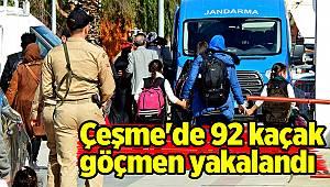 Çeşme'de 92 kaçak göçmen yakalandı