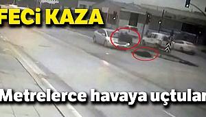 Abla ve kardeşe otomobil çarptı, metrelerce havaya savruldular