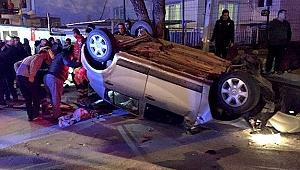 Araç takla attı: 3 yaralı