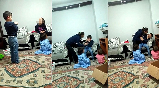 Üvey anne şiddeti kamerada