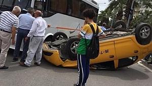 İzmir'de taksi ters döndü