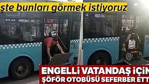 Otobüs şoförünün engelleri aşan hareketi