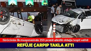 Gişeye aynı anda girmeye çalışan araçlar kaza yaptı