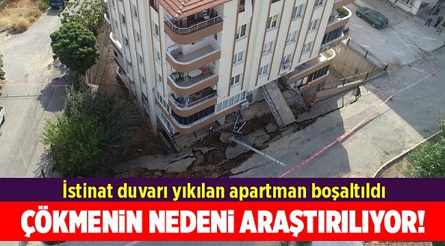 İzmir'de istinat duvarı yıkılan apartman boşaltıldı, ekipler inceleme başlattı