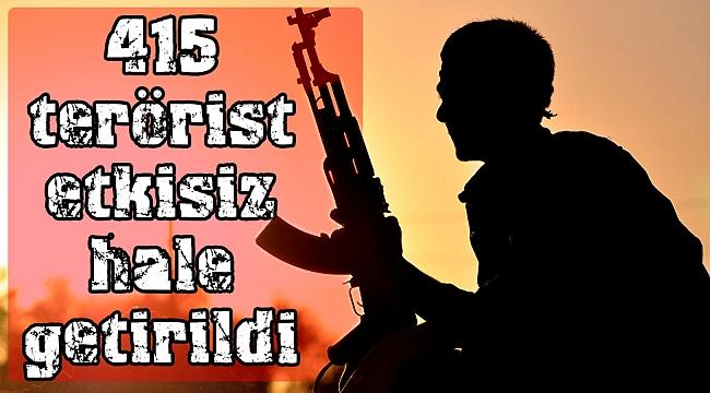 Barış Pınarı Harekatı'nda etkisiz hale getirilen terörist 415'e ulaştı