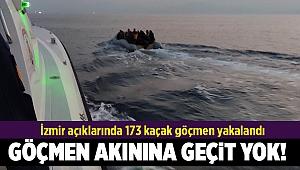 İzmir açıklarında 173 kaçak göçmen yakalandı