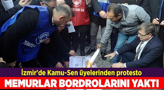 İzmir'de Kamu-Sen üyelerinden protesto