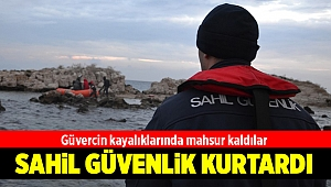 İzmir'de kayalıklarda mahsur kalan düzensiz göçmenler kurtarıldı