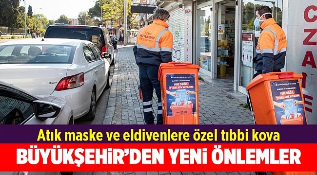 İzmir'de atık maske ve eldivenlere özel tıbbi kova