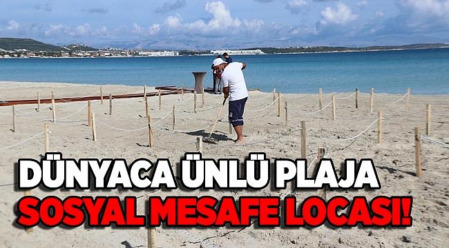 Ilıca Plajı'na 'sosyal mesafe halatları' çekildi