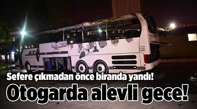 İzmir'de park halindeki otobüs yandı, faciadan dönüldü!