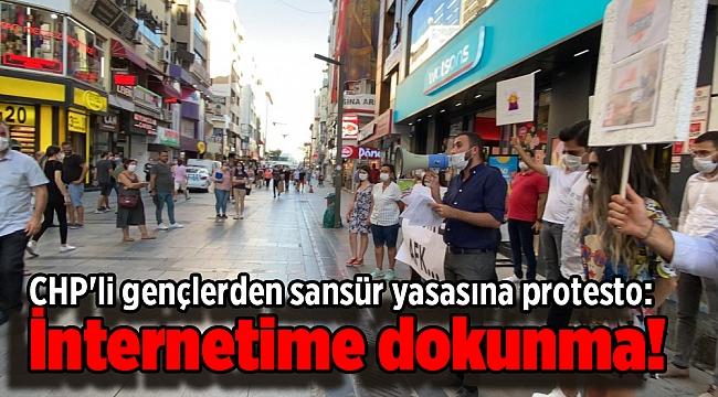 CHP'li gençlerden sansür yasasına protesto: İnternetime dokunma!