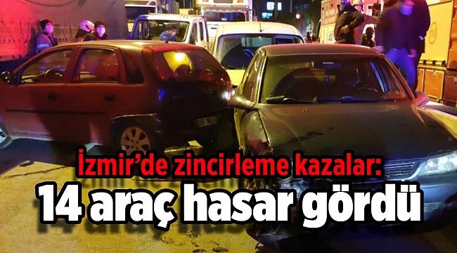 İzmir'de zincirleme trafik kazaları: 14 araç hasar gördü