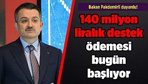 Bakan Pakdemirli duyurdu! 140 milyon liralık destek ödemesi bugün başlıyor
