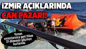 İzmir açıklarında Yunan unsurlarınca geri itilen 31 düzensiz göçmen kurtarıldı