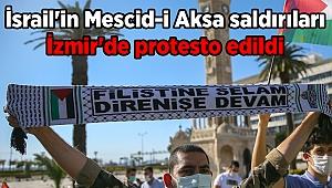 İsrail'in Mescid-i Aksa saldırıları İzmir'de protesto edildi