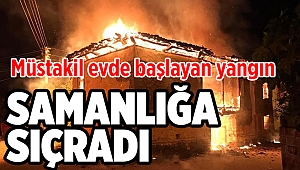 Müstakil evde başlayan yangın samanlığa sıçradı!
