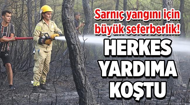 Sarnıç yangını için büyük seferberlik! Herkes yardıma koştu