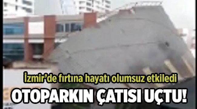 Otoparkın çatısı uçtu